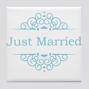 Just married in blue Tile Coaster
