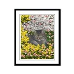 Mimosa Tiger Tabby in Flowers Framed Panel Print