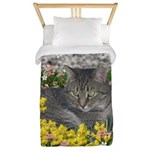 Mimosa Tiger Cat in Mimosa Flowers Twin Duvet