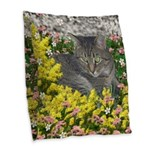 Mimosa Tiger Tabby in Flowers Burlap Throw Pillow