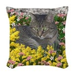 Mimosa Tiger Tabby in Flowers Woven Throw Pillow