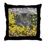 Mimosa Tiger Cat in Mimosa Flowers Throw Pillow