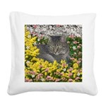Mimosa Tiger Tabby in Flowers Square Canvas Pillow