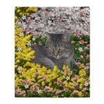 Mimosa Tiger Cat in Mimosa Flowers Throw Blanket
