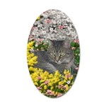 Mimosa Tabby Flowers 20x12 Oval Wall Decal
