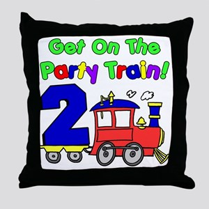 Get On The Party Train 2 Year Old Throw Pillow