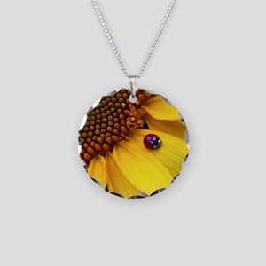 Ladybug on Sunflower1 Necklace Circle Charm