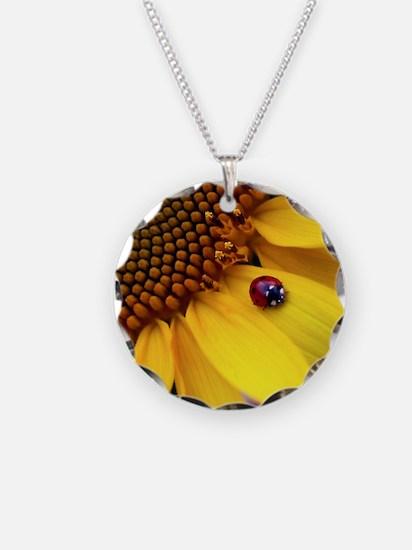 Ladybug on Sunflower1 Necklace