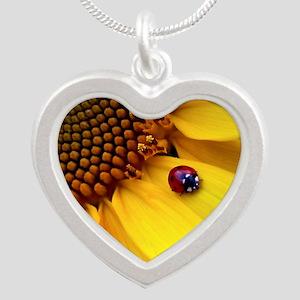 Ladybug on Sunflower1 Silver Heart Necklace