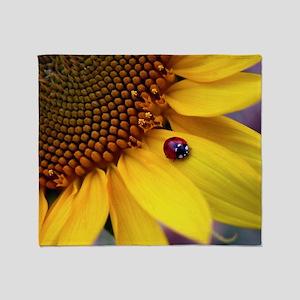 Ladybug on Sunflower1 Throw Blanket