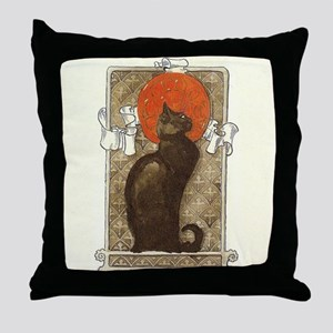 steilen_chatNoirRed Throw Pillow
