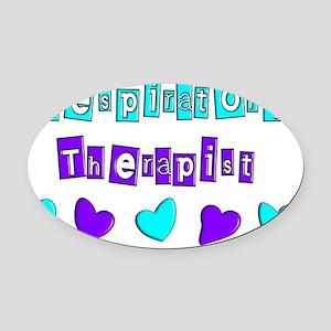 RESPIRATORY HEARTS BLUE PURPLE Oval Car Magnet