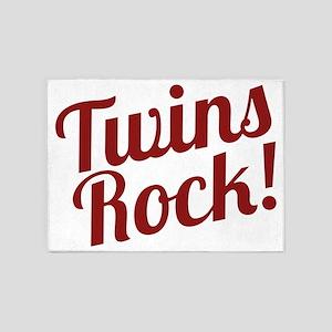 TwinsRockred 5'x7'Area Rug