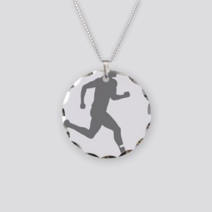 131runner10inBLK Necklace Circle Charm