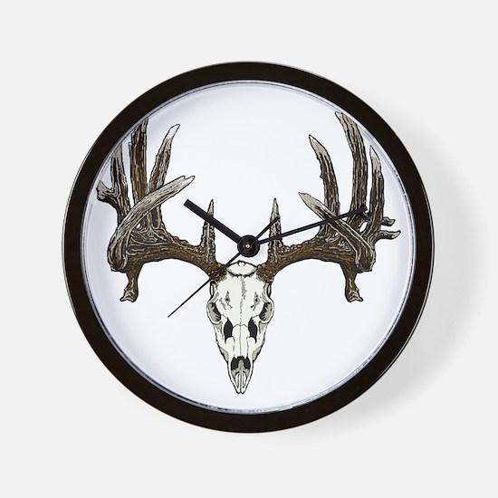 whitetail buck skull d Wall Clock
