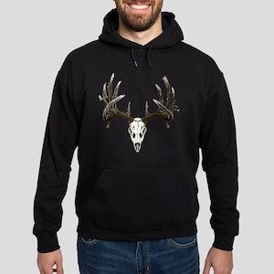 whitetail buck skull d Hoodie (dark)