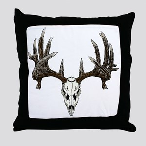 whitetail buck skull d Throw Pillow