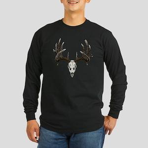 whitetail buck skull d Long Sleeve Dark T-Shirt