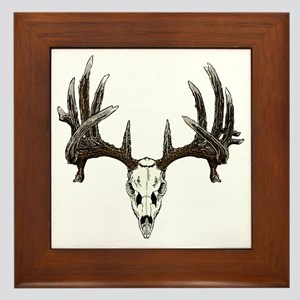 whitetail buck skull d Framed Tile
