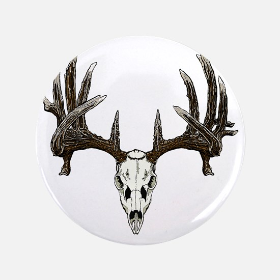 """whitetail buck skull d 3.5"""" Button"""