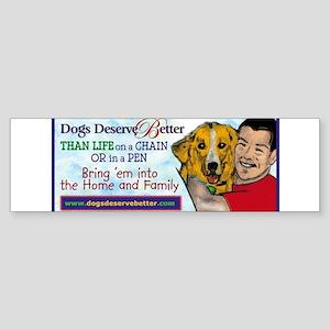 Man Hugs Dog-Color Bumper Sticker