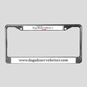 Man Hugs Dog-Color License Plate Frame