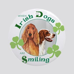 St Pat 2 setters tote-no hat Round Ornament