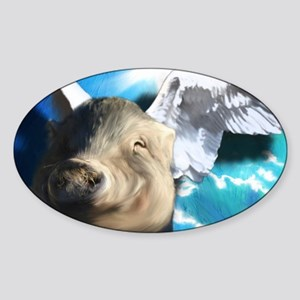Angel_Pig-TriPodDogDesign Sticker (Oval)