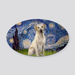 StarryNight-YellowLab7 Oval Car Magnet