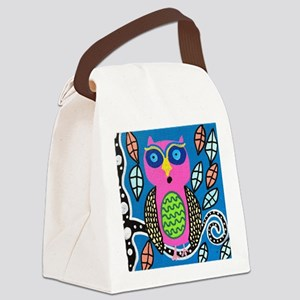 Single Owl Canvas Lunch Bag