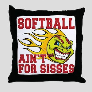 softball sisses(blk) Throw Pillow