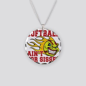 softball sisses(blk) Necklace Circle Charm