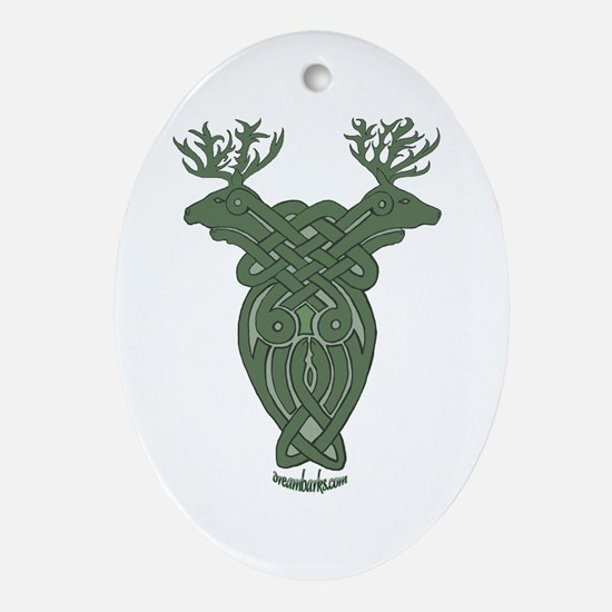Celtic Stag Oval Ornament