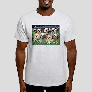 7 Shih Tzus in Moonlight Light T-Shirt