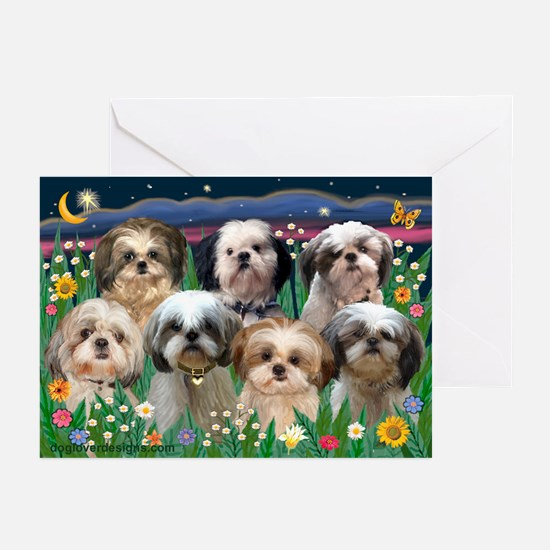 7 Shih Tzus in Moonlight Greeting Cards (Pk of 10)