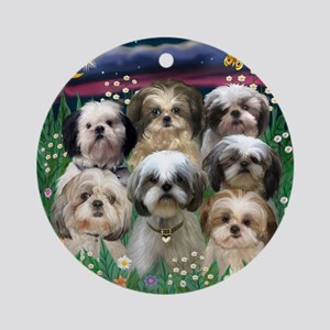 7 Shih Tzus in Moonlight Ornament (Round)