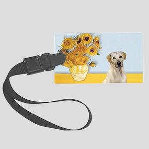 Sunflowers-YellowLab7 Large Luggage Tag