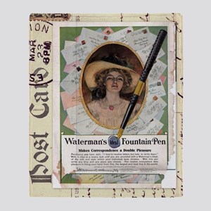 1909 Watermans Ideal Fountain Pen Ad Throw Blanket