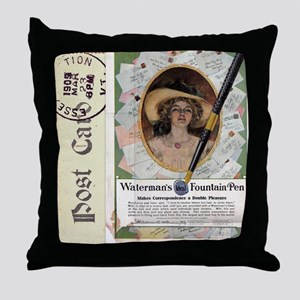 1909 Watermans Ideal Fountain Pen Ad Throw Pillow