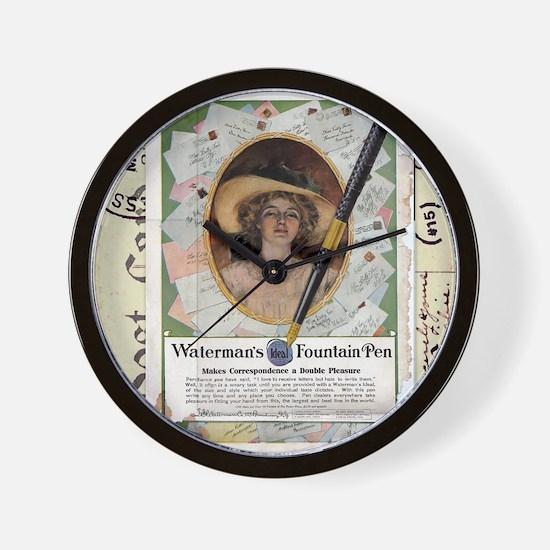 1909 Watermans Ideal Fountain Pen Ad Wall Clock