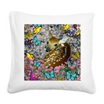 Bambina Fawn Butterflies Square Canvas Pillow