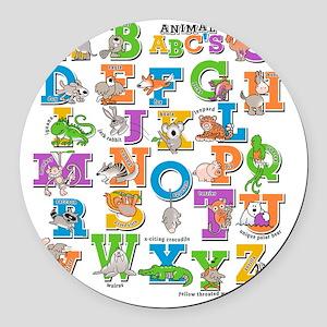 ABCs of Animals RGB Round Car Magnet