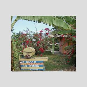 Jerk_Chicken_Stand_Negril_Jamaica_LR Throw Blanket