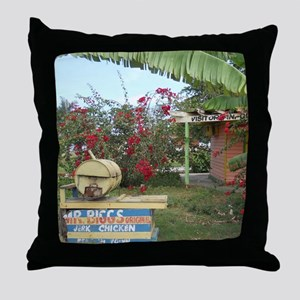 Jerk_Chicken_Stand_Negril_Jamaica_LR Throw Pillow