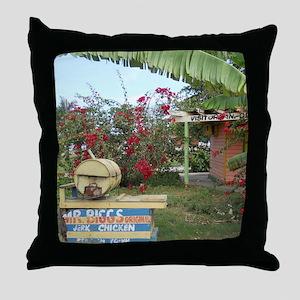 Jerk_Chicken_Stand_Negril_Jamaica_LR Throw Pillow