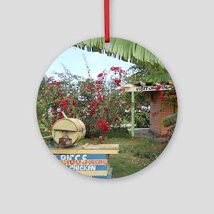 Jerk_Chicken_Stand_Negril_Jamaica_L Round Ornament