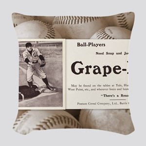 1909 Grape-Nuts Ad Woven Throw Pillow