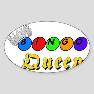 Bingo Queen Crown Silver Diamonds B Sticker (Oval)