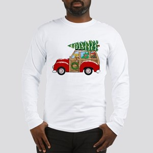 Vintage Christmas Woody Wagon Long Sleeve T-Shirt