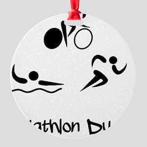 Triathlon Dude Black Round Ornament